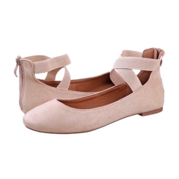 Shoes - 💥 CLEARANCE Strappy Back Zip Ballet Flats Cream